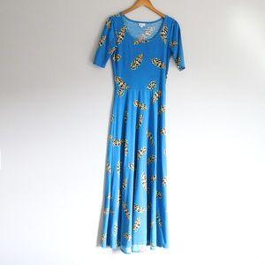 Lularoe Blue Feather Ana Maxi T Shirt Dress S